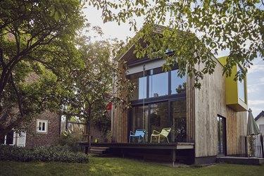 Exterior of modern tiny house