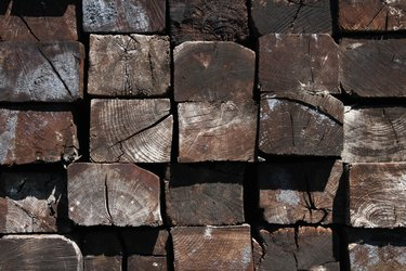 Ends of stacked Railroad Ties