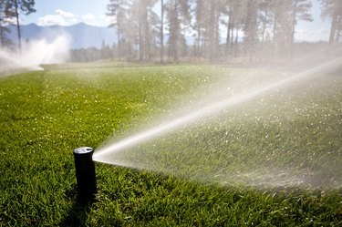 Watering a Golf Course With Sprinkler System