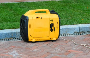 Using portable electric diesel generator on the street.