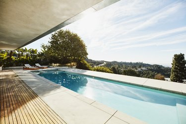 View of pool in backyard of modern home