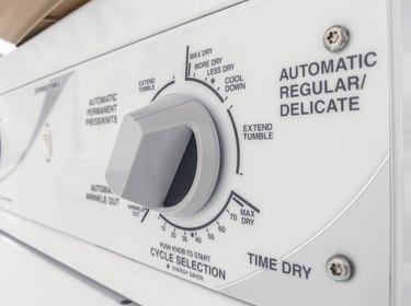 Closeup of a clothes dryer control panel