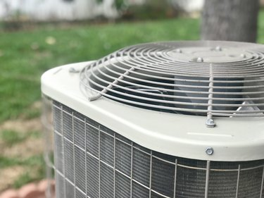 Close up of a residential air conditioning unit