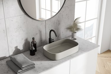 White bathroom sink, top view