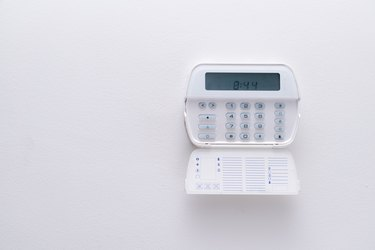 Alarm system of an apartment, house of business office. Surveillance and protection console