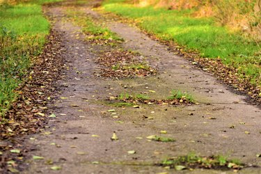 Close up of a small concrete road