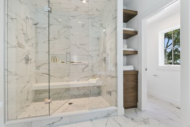 Decorative tile adds classy element to master shower