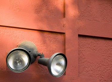 Exterior Security Floodlight on Red Wall