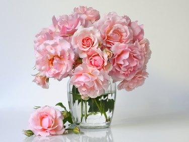 Bouquet of pink roses in a  vase. Romantic floral decoration.
