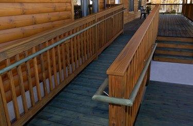 Log Building Wheelchair Handicapped Wooden Access Ramp