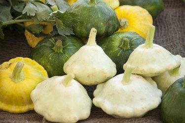 Pattypan squash green, yellow, white