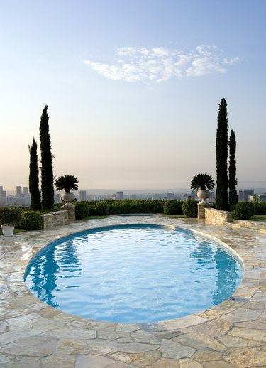 Landscape with oval pool