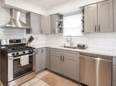 Kitchen Interior Design with white back splash stock photo