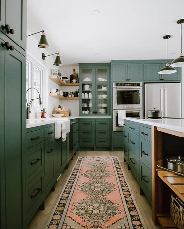 Beautiful Green Kitchen with Vintage Pink Runner