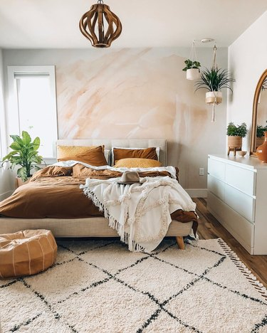 Boho bedroom with brown organic color palette