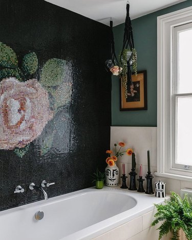 Black and green bathroom with rose tile mosaic