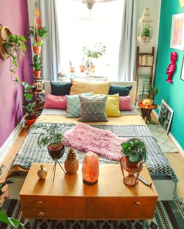 Bedroom featuring a wide range of bright colors and botanicals