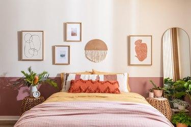 color blocked wall in bedroom