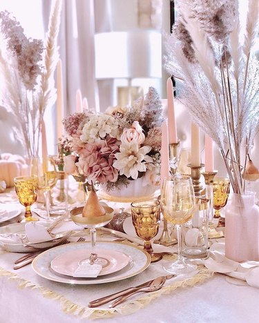 pink fall tablescape