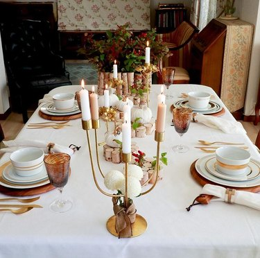 white and brown fall tablescape