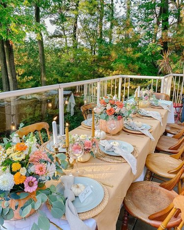 fall tablescape with bright flowers