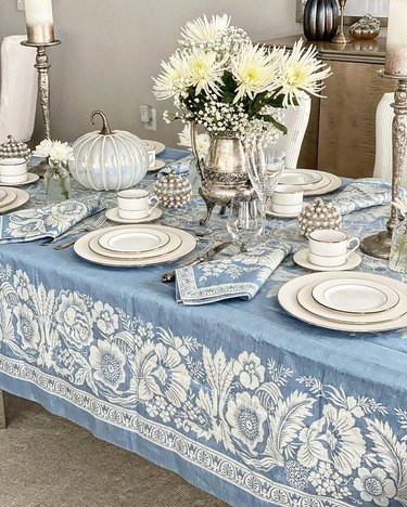 blue, white, and silver fall tablescape