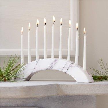 white marble menorah