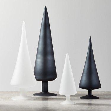 minimalist black and white christmas tree sculptures