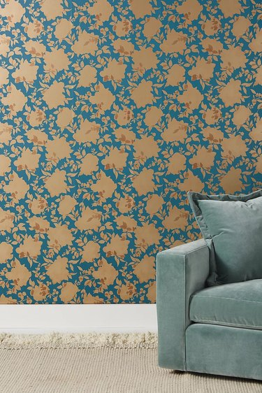 Floral wallpaper with teal and orange
