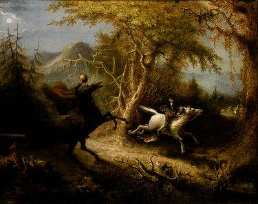 """The Headless Horseman Pursuing Ichabod Crane"" 1858 painting by artist John Quidor"