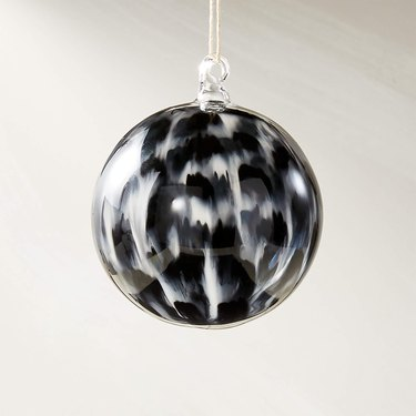 black and white tie-dye globe ornament