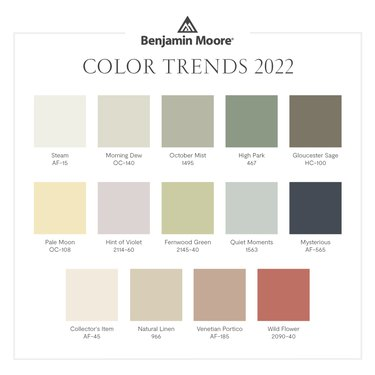 """graphic with text that reads """"Benjamin Moore Color Trends 2022"""" and different colors of squares"""