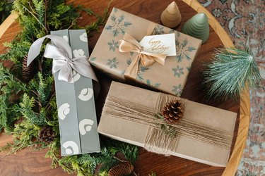 Wrapped winter holiday presents