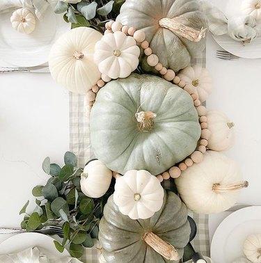 green fairytale pumpkin tablescape