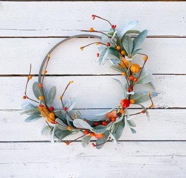 Sage lambs ear and red berries hoop wreath