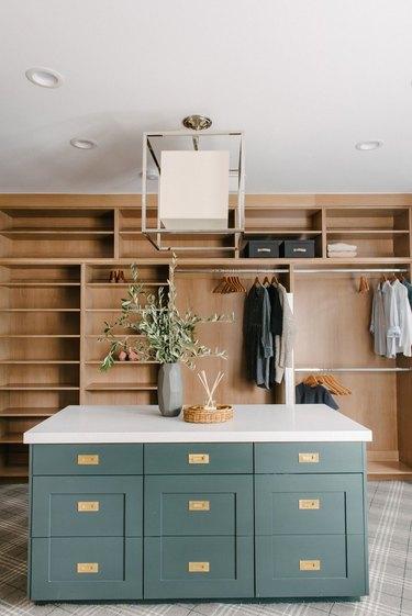 walk-in oak closet and laundry room