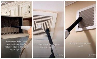 vacuuming fridge coils, bathroom fans, and hvac vents