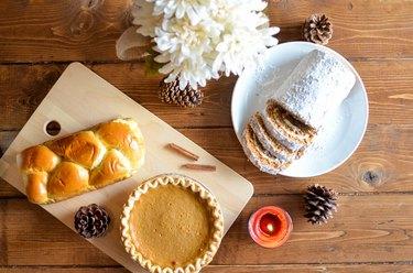 pumpkin pie, pumpkin bread, pumpkin roll