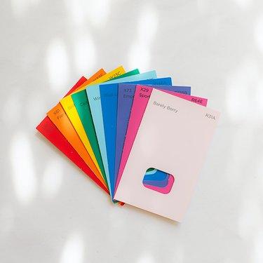rainbow paint swatches