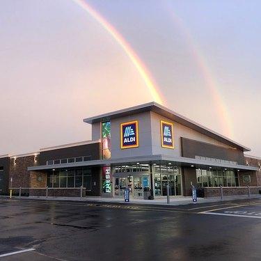 aldi store with rainbow