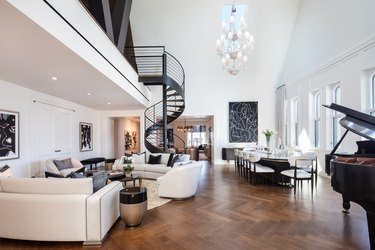 loft-style luxury apartment with spiral staircase