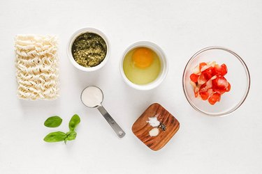 Ingredients for pesto creamy ramen
