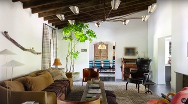 living room with large lighting fixture