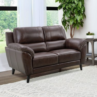 Industrial Lodge Home Madden 61-Inch Genuine Leather Pillow Top Arm Loveseat