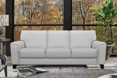 Armen Living 87-Inch Bergen Genuine Leather Square Arm Sofa in Dove Gray