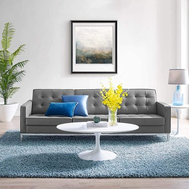 Modway Loft Tufted Button Faux Leather Sofa in Silver Gray