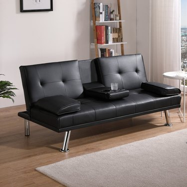 Latitude Run 67-Inch Genuine Leather Pillow Top Arm Sofa Bed in Black