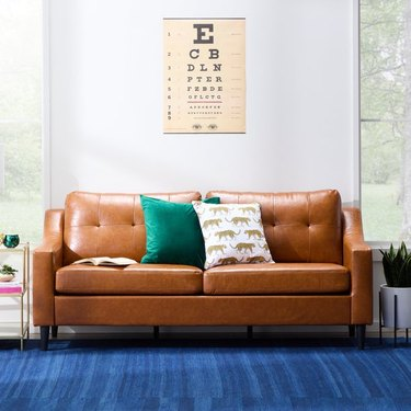 Mayview Tudy Faux Leather Sofa in Camel