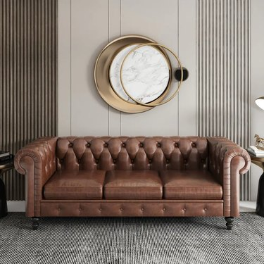 Magic Home Chesterfield Sofa in Cognac Brown