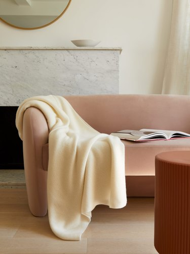 italic cashmere ribbed throw blanket